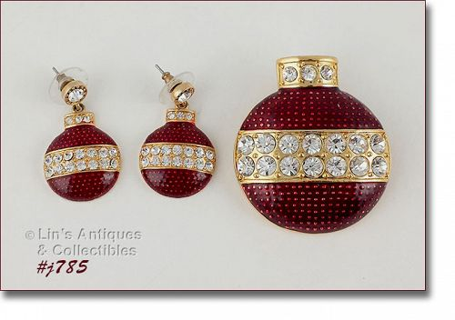 EISENBERG ICE RED ORNAMENT SHAPED PIN AND PIERCED EARRINGS