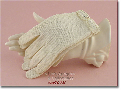 LIGHTWEIGHT WOOL BLEND VINTAGE GLOVES WITH FANCY CUFF SIZE 6