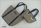 TWO LONGABERGER BLACK AND TAN CHECK / PLAID HANDBAGS