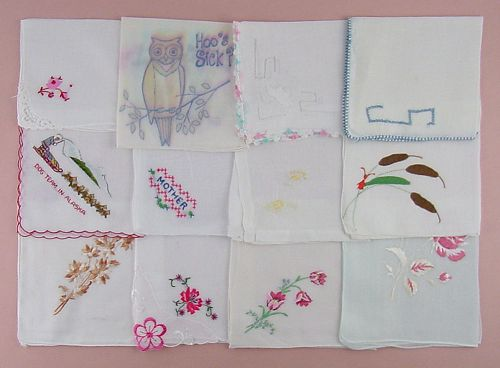 ONE DOZEN VINTAGE BARELY IMPERFECT HANKIES FOR CRAFTING REPURPOSING