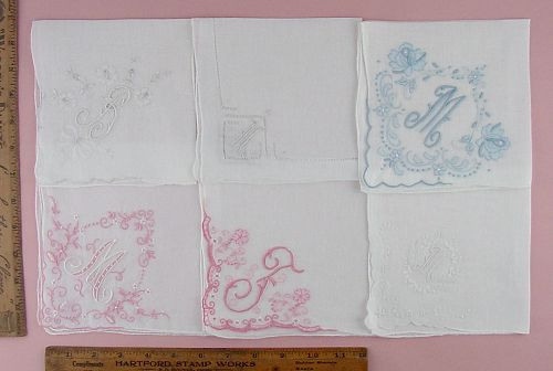 CHOICE OF VINTAGE MONOGRAM HANDKERCHIEFS MONOGRAMS M, B, AND F