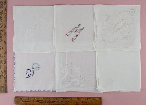 CHOICE OF VINTAGE MONOGRAM HANDKERCHIEFS MONOGRAMS W, M, E, V, and S