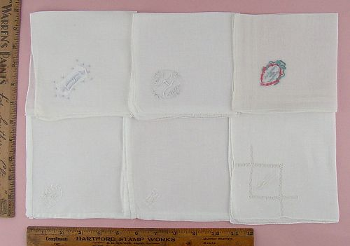 CHOICE OF VINTAGE MONOGRAM HANDKERCHIEFS MONOGRAMS H, A, W, and M