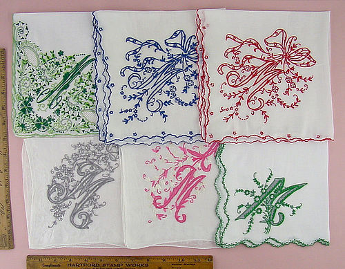 CHOICE OF VINTAGE MADEIRA FANCY MONOGRAM M HANDKERCHIEFS Top Row Sold