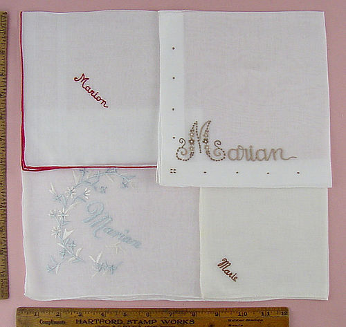 CHOICE OF VINTAGE MONOGRAM NAME HANKIES MARIAN (2), MARION, and MARIE