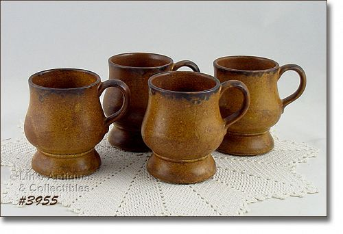 McCOY POTTERY SET OF 4 VINTAGE CANYON PEDESTAL MUGS