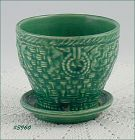 McCOY POTTERY VINTAGE 3 3/4 INCH TALL BASKETWEAVE FLOWER POT