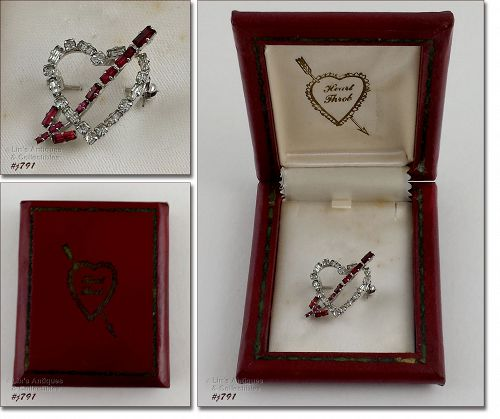 HEART THROB VINTAGE RHINESTONE HEART PIN IN ORIGINAL VINTAGE BOX