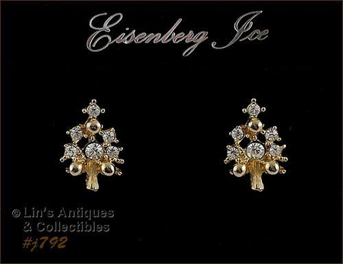 EISENBERG ICE CHRISTMAS TREE SHAPED PIERCED EARRINGS
