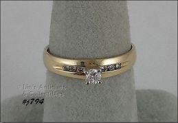 10K YELLOW GOLD DIAMOND ENGAGEMENT RING SIZE 7 ½
