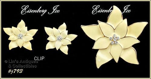 EISENBERG ICE � POINSETTIA PIN AND MATCHING CLIP EARRINGS