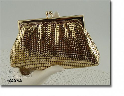 WHITING AND DAVIS GOLD COLOR MESH ESSENTIALS PURSE