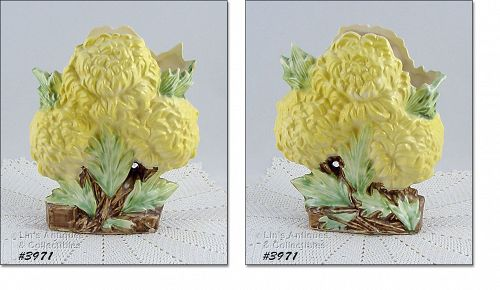 McCOY POTTERY YELLOW CHRYSANTHEMUMS VINTAGE FLOWER FORM VASE