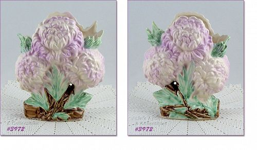 McCOY POTTERY LILAC COLOR CHRYSANTHEMUMS VINTAGE FLOWER FORM VASE