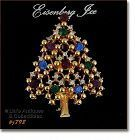 Eisenberg Ice Multi-Color Rhinestones Christmas Tree Pin
