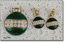 Eisenberg Ice Green Ornament Christmas Pin and Pierced Earrings