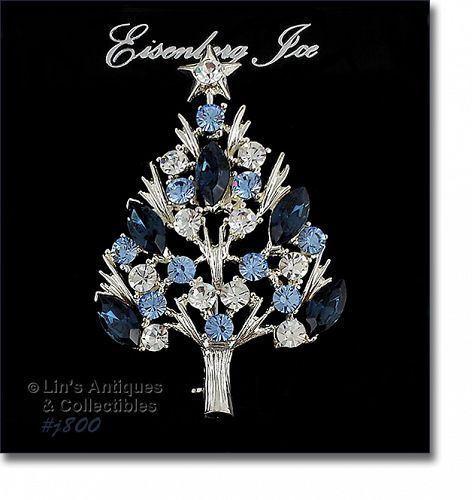 Eisenberg Ice Christmas Tree Pin with Blue and Clear Rhinestone