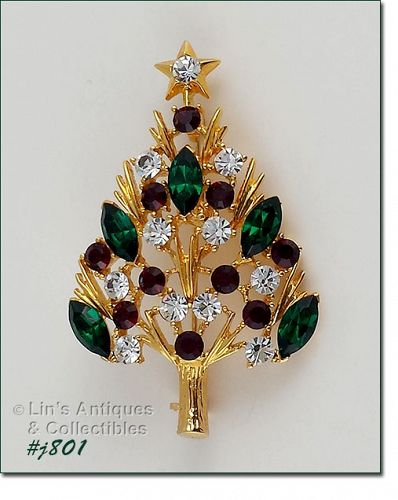 Eisenberg Ice Christmas Tree Pin with Red, Green,and Clear Rhinestones