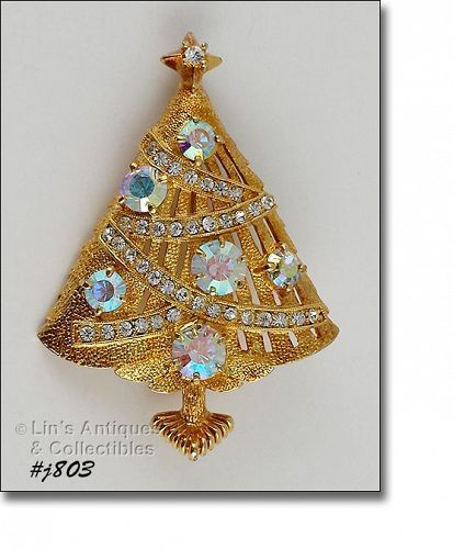 Eisenberg Ice Christmas Tree Pin with Aurora Borealis Rhinestones