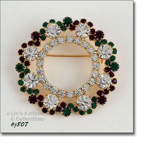 Eisenberg Ice Red, Green, and Clear Prong-Set Rhinestones Wreath Pin