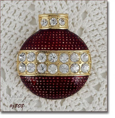 Eisenberg Ice Red Enamel and Clear Rhinestones Ornament Shaped Pin