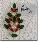 Eisenberg Ice Prong-Set Red, Green,and Clear Rhinestones Christmas Pin
