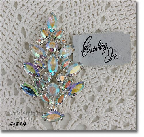 Eisenberg Ice Prong-Set Aurora Borealis Rhinestones Christmas Tree Pin