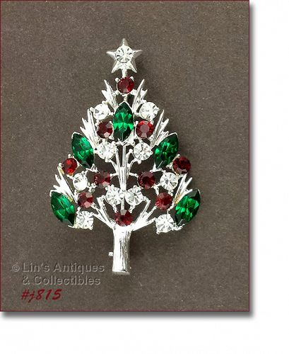 Eisenberg Ice Christmas Tree Pin with Red Green and Clear Rhinestones