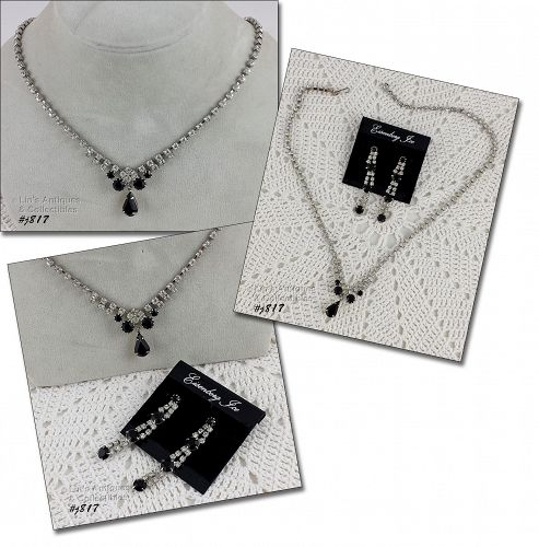 Eisenberg Ice Black and Clear Rhinestones Necklace and Earrings