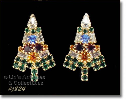 EISENBERG ICE CANDLE TREE CHRISTMAS TREE SHAPED PIERCED EARRINGS