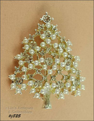 EISENBERG ICE FAUX PEARLS AND RHINESTONES SILVER TONE TREE PIN