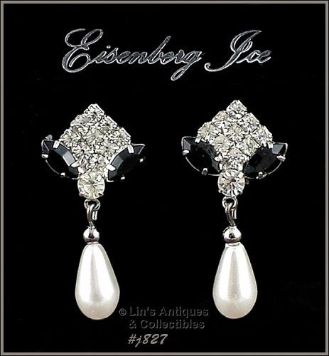 EISENBERG ICE � BLACK AND CLEAR RHINESTONE WITH PEARL DANGLE EARRINGS