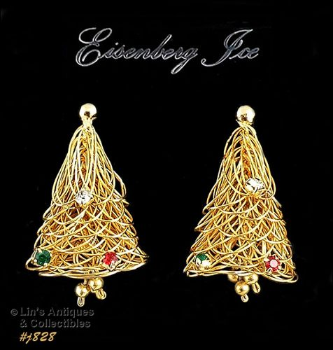 EISENBERG ICE CHRISTMAS TREE GOLD TONE PIERCED EARRINGS