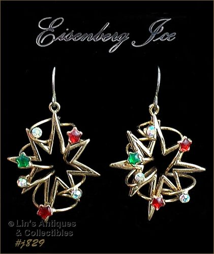EISENBERG ICE � STAR WITH RHINESTONES DANGLE STYLE PIERCED EARRINGS