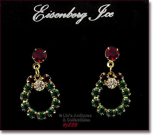 EISENBERG ICE RHINESTONE WREATH SHAPED PIERCED EARRINGS