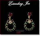 EISENBERG ICE -- RHINESTONE WREATH SHAPED PIERCED EARRINGS