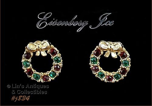 EISENBERG ICE � WREATH SHAPED RHINESTONE PIERCED EARRINGS