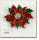EISENBERG ICE � POINSETTIA PIN WITH RHINESTONE CENTER