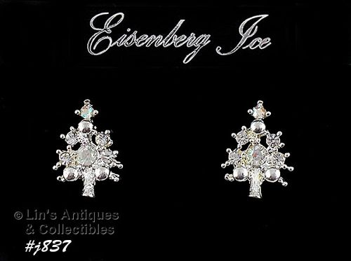 EISENBERG ICE �CHRISTMAS TREE SMALL SIZE EARRINGS WITH A/B RHINESTONES