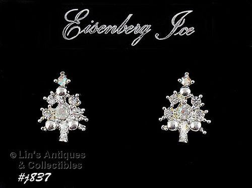EISENBERG ICE �CHRISTMAS TREE SMALL SIZE EARRINGS WITH A/B RHINESTONES