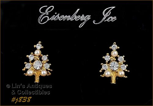 EISENBERG ICE CHRISTMAS TREE EARRINGS RHINESTONE AND PEARL SMALL SIZE