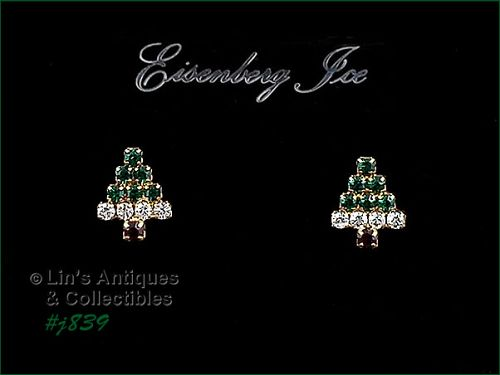EISENBERG ICE � SMALL CHRISTMAS TREE PIERCED EARRINGS