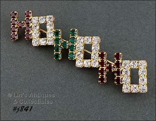 EISENBERG ICE HO HO HO PRONG-SET RHINESTONE PIN 4 AVAILABLE