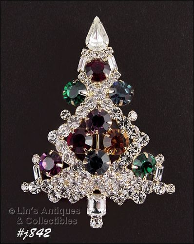 EISENBERG ICE � PRONG-SET RHINESTONE CHRISTMAS TREE PIN LARGER SIZE