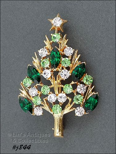 EISENBERG ICE -- CHRISTMAS TREE PIN WITH CLEAR AND GREENS RHINESTONES