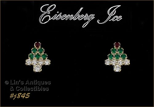 EISENBERG ICE SMALL CHRISTMAS TREE SHAPED PIERCED EARRINGS