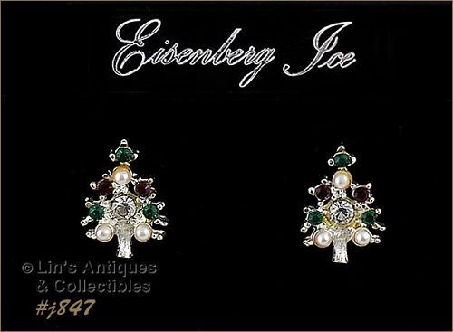 EISENBERG ICE RED GREEN CLEAR RHINESTONES AND FAUX PEARL EARRINGS