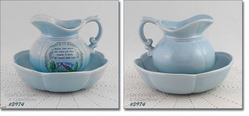 McCOY POTTERY � �BLESS THIS HOUSE� PITCHER AND BOWL