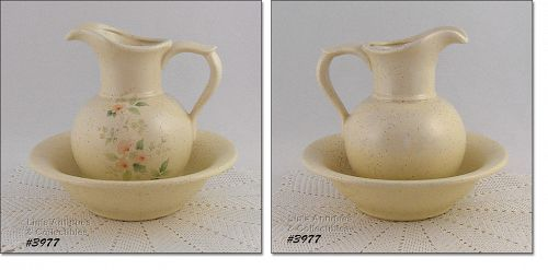 McCOY POTTERY � ROMANCE PATTERN PITCHER AND BOWL