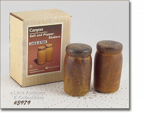 McCOY POTTERY VINTAGE CANYON SALT AND PEPPER SET MINT IN ORIGINAL BOX